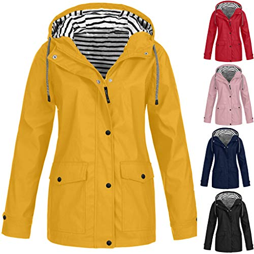 TIMEMEAN Long Sleeve Waterproof Jacket Hooded Raincoat Womens
