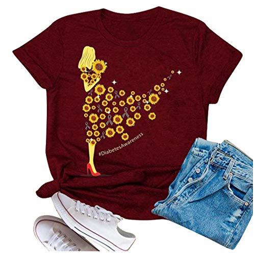 Piabigka Maglietta Manica Corta Donna Estiva Girasole Camicia,T-Shirt da Donna Maglie Donna Taglie Forti T Shirt Donna Divertenti Stampata a Maniche Corte Maglietta Estiva Donna