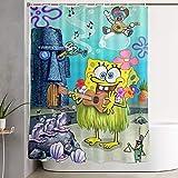 NHUXAYH Duschvorhang Spongebob Kunstdruck, Polyester Stoff Badezimmer Dekorationen Sammlung mit Haken 60 X 72 Zoll