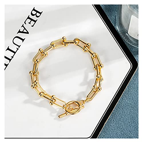 LSTGJ Pulsera De Wome Punk Beads Pulsera para Chicas Multilayas Multilayer Gold Color Party Jewelry (Metal Color : NO.34)