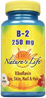 Nature's Life Vitamin B-2 250mg | Powerful Support for Healthy Skin & Metabolism | Easy-to-Swallow Tablets | Non-GMO & Veg...