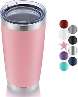 DOMICARE 20oz Stainless Steel Tumbler with Lid, Double Wall Vacuum Insulated Travel Mug, Durable Powder Coated Insulated Coffee Cup,1 Pack, Pink