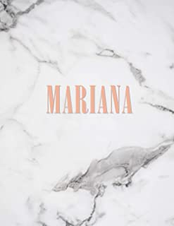 Mariana: Marble Gold Monogram Initial Name Mariana with Marble and Pink Floral Notebook Journal for Women, Girls and Schoo...
