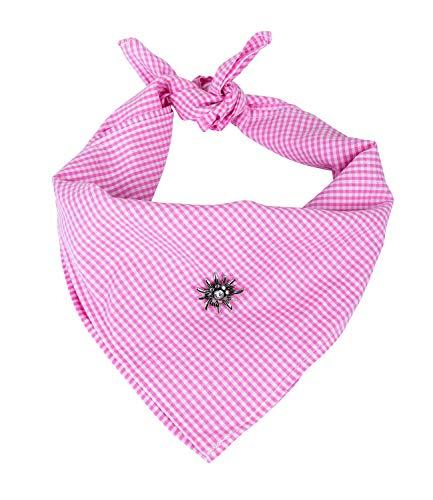 SIX Tuch mit Karomuster in hellem rosa, Halstuch, Haarband mit Edelweiss-Anhänger, Strasssteine, Oktoberfest, Karneval, Fasching, Kostüm (705-764)
