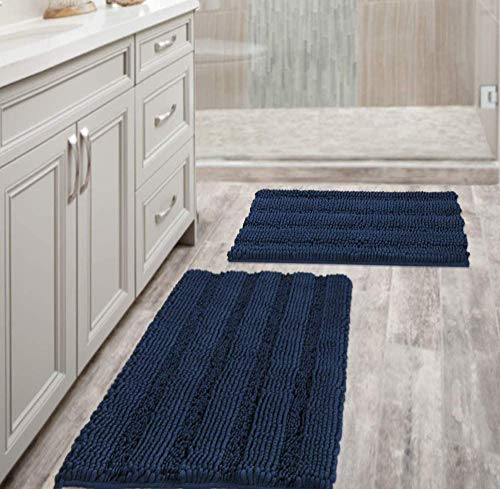"""Navy Blue Bathroom Rugs Slip-Resistant Extra Absorbent Soft and Fluffy Striped Bath Mat Set Chenille Bath Rugs, Floor Mats Dry Fast Machine Washable (Set of 2 - 20"""" x 32""""/17"""" x 24"""")"""
