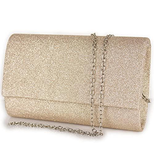 Pochette beige glitter elegante da cerimonia donna piccola borsa gioiello clutch glitterata borsetta a mano per feste party da sera giorno ragazza signora di moda Tessuto glitterato Cream