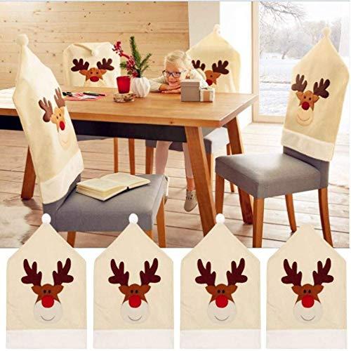 Topanke Fundas para sillas de Navidad (juego de 4 unidades), diseño de ciervo