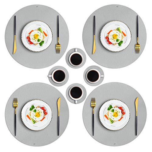 JTX Round Placemats for Dining Table, Set of 4 Leather Placemats and 4 Coasters for Coffee,High-Grade Artificial Leather Easy Clean Heat & Stain Resistant Non-Slip Washable Kitchen Table Mats (Silver)