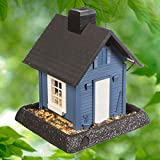 North States Village Collection Blue Cottage Birdfeeder: Easy Fill and Clean. Squirrel Proof Hanging Cable included, or Pole Mount (pole sold separately). Large, 5 pound Seed Capacity (9.5 x 10.25 x 11, Blue)