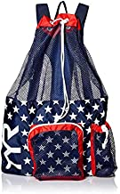 TYR Big Mesh Mummy Backpack For Wet Swimming, Gym, and Workout Gear, Red/Navy, One Size (LBMMB3)