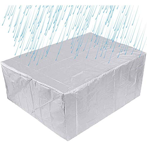HBBCD Garden Furniture Covers Waterproof Rectangle 210D Oxford Fabric Protective Cover for Outdoor Patio Table and Chairs Anti-UV Garden Table Covers Silver-213X132X74cm