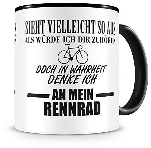 Samunshi® Rennrad Tasse mit Spruch Geschenk für Mann Frau Oma oder Opa Kaffeetasse groß Lustige Tassen zum Geburtstag schwarz 300ml