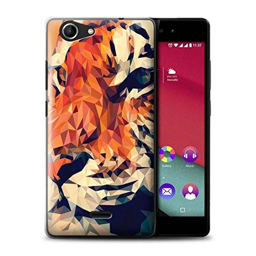 Handy Hülle kompatibel mit Wiko Pulp Fab 4G Geometrisches Tier Tierwelt Tigergesicht Transparent Klar Ultra Dünne Handyhülle Hülle Cover
