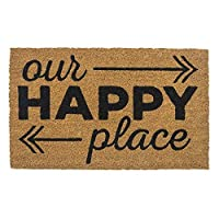 "Entryways P Happy Place, Non-Slip Coconut Fiber Doormat 17"" X 28"" X .5"", Brown/Black [並行輸入品]"