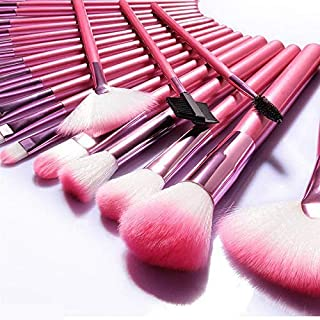 Make Up Brushes NEVSETPO 24pcs Synthetic Cosmetics Makeup Brush Set with Case Full Face Makeup Kits for Foundation Blending Blush Concealer Eye Shadow, Cruelty-Free Synthetic Fiber Bristles (Pink)