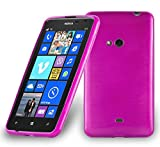 Cadorabo Hülle für Nokia Lumia 625 - Hülle in PINK – Handyhülle aus TPU Silikon in gebürsteter Edelstahloptik (Brushed) Silikonhülle Schutzhülle Soft Back Cover Hülle Bumper