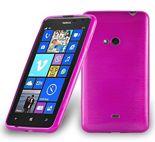 Cadorabo Hülle für Nokia Lumia 625 - Hülle in PINK – Handyhülle aus TPU Silikon in gebürsteter Edelstahloptik (Brushed) Silikonhülle Schutzhülle Soft Back Cover Case Bumper