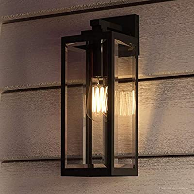 """Luxury Modern Farmhouse Wall Sconce, Medium Size: 17.00""""H x 6.00""""W, with Industrial Style Elements, Natural Black Finish, UQL1331 from The Quincy Collection by Urban Ambiance"""