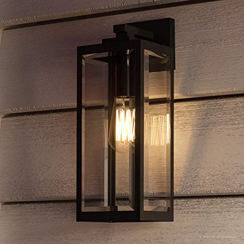 "Luxury Modern Farmhouse Wall Sconce, Medium Size: 17.00""H x 6.00""W, with Industrial Style Elements, Natural Black Finish, UQL1331 from The Quincy Collection by Urban Ambiance"