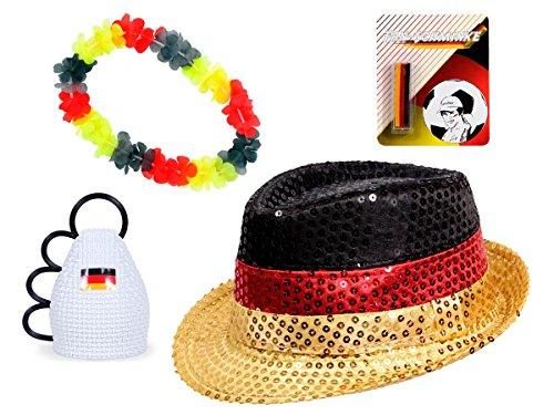 Alsino Kit Supporter Allemagne FP-45: 4 Accessoires: Chapeau de Style Trilby, Collier Hawaïen, Stick de Maquillage Noir Rouge Jaune et Caxirola Maracas idée Cadeau Femme Fille Homme