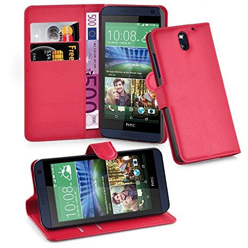 Cadorabo Hülle für HTC Desire 620 - Hülle in Karmin ROT – Handyhülle mit Kartenfach & Standfunktion - Case Cover Schutzhülle Etui Tasche Book Klapp Style