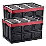 Yorbay Cajas de Almacenamiento Plegables de Plástico, 2 Unidades Cubos de almacenaje con Tapa (Negro, 28L)