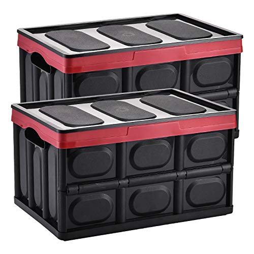 Yorbay Collapsible Storage Box Crate with Lid and Handle, 2 Pack, Plastic Folding Boxes for Home, Garden, Car Boot, Camping and Transport (Black, 55 Litre) Reusable