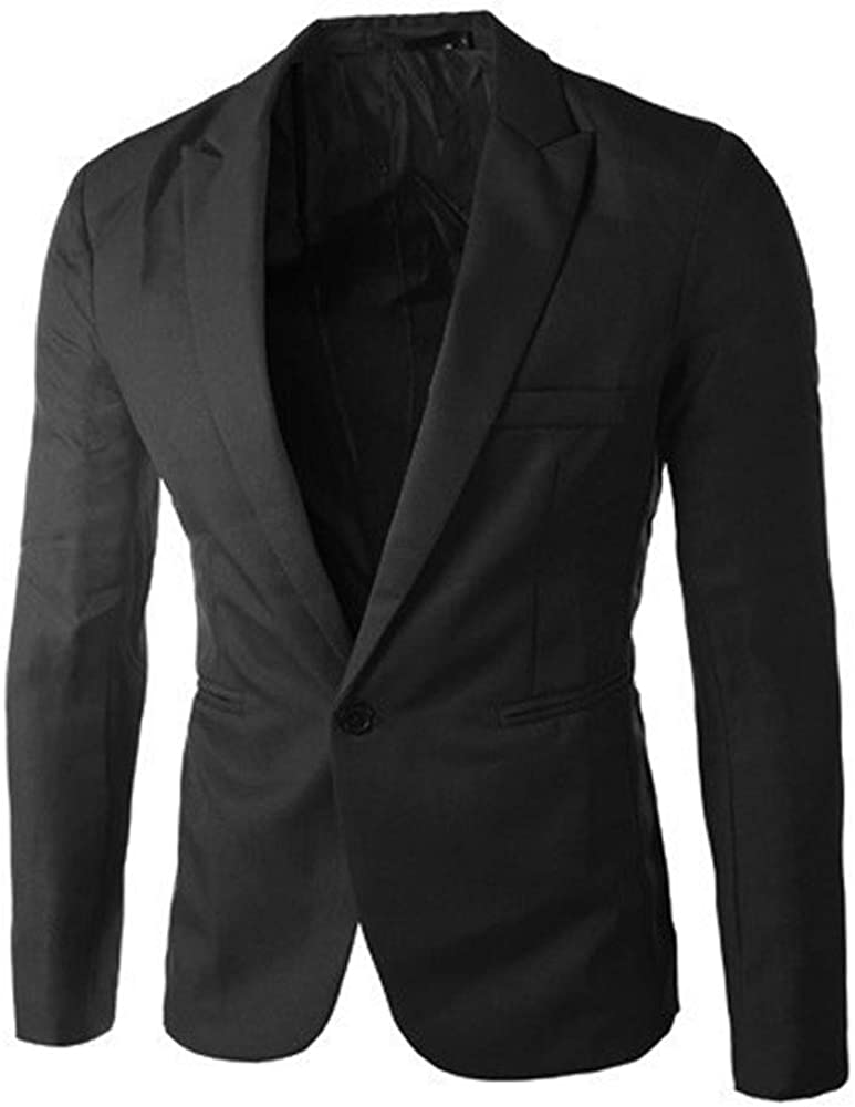 Sumen Men Casual Slim Fit One Button Suit Blazer Coat Jacket for Work
