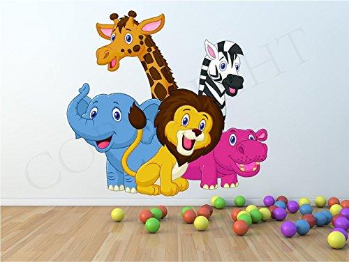 Animaux du zoo enfants Chambre à coucher Art mural autocollant transfert, Small 22cm x 20cm