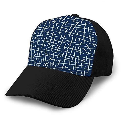LJKHas232 1604 Gorra sándwich de algodón Unisex con Visera Sombreros de béisbol Ajustables Gorra Ajustable con Costura Japonesa Azul índigo Tradicional