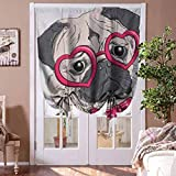 Bedroom Curtains Pug Tie Up Balloon Shade Curtain Fashionable Dog with Heart Shaped Glasses and Dotted Bow Tie I Love Pugs Drawing for Kitchen Bedroom Bathroom Windows Rod Pocket Panel, 48'W x 72'L