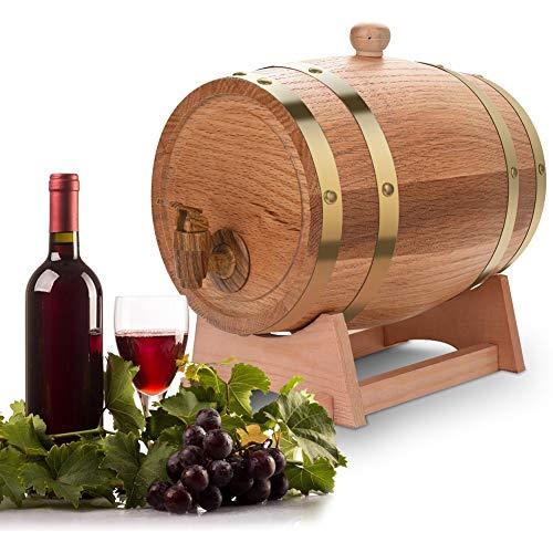 Faß Wein Eichenfass - Vintage Holz Eichenholz Weinfass für Bier Whisky Rum Port, Holzfass Personalisiert mit Gravur - Geschenkidee zum Geburtstag für sie/ihn - Eichen-Fass für Whisky oder Wein(3 L)