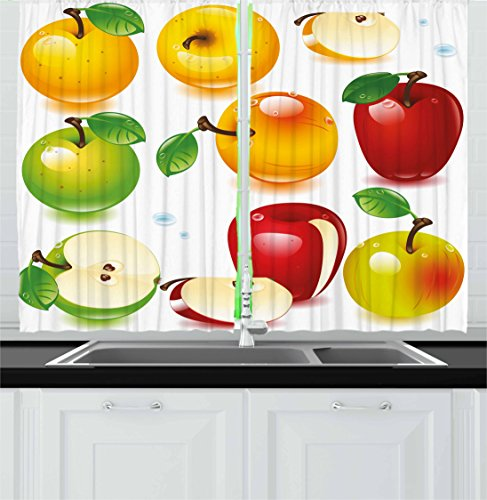 Different Varieties of Apples Cartoon Style Juicy Delicious Fruit, Window Drapes 2 Panel Set for Kitchen Cafe Decor, Yellow Green
