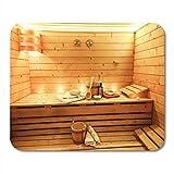 Tapis de souris Salle de sauna à vapeur Accessoires traditionnels Seau Équipement sec Tapis de souris finlandais pour ordinateurs portables, ordinateurs de bureau Tapis à souris, Fournitures de bureau