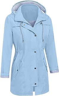 LENXH Women's Long Coat Waterproof Waist Hooded Windbreaker Solid Color Autumn Coat Long-Sleeved Jacket