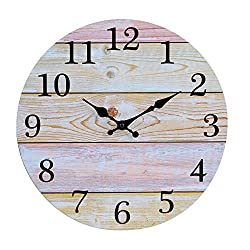 jomparis 12 Rustic Country Tuscan Style Wooden Decorative Round Wall Clock Shiplap Farmhouse Wall Clock