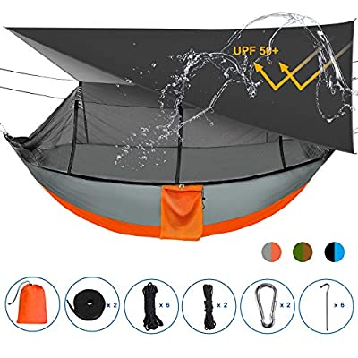 Sotech Camping Hammock Tent and Accessories, with Bug Net and Rainfly Cover (Sun Shelter UPF 50+), Tarp Ropes, Tree Straps, Camping Stakes, Carry Bag for Tarp, Max Load 660lbs