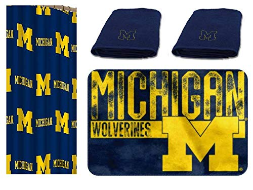 NCAA Michigan Wolverines 4 pc Bath Set - Includes 1 Shower Curtain, 2 Bath Towels and 1 Bath Rug