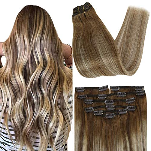 Hair Extensions Clip in Human Hair Brown Balayage With Blonde Highlights Hair 7PCS 100 Grams 16 Inch Hair Light Brown Mixed Medium Blonde Clip in Hair Extensions Full Head