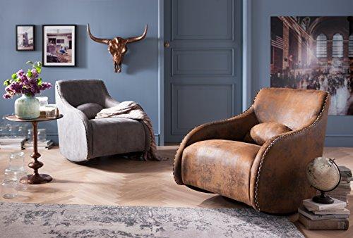 Kare Design Sessel Swing Ritmo Braun, Schaukelsessel aus pflegeleichtem Polyester Stoff, Schaukelstuhl im Vintage Style, gemütlicher Loungesessel mit Kippfunktion, (H/B/T) 83x76x74 cm