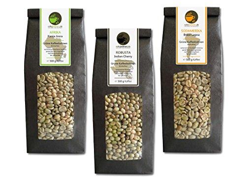 Rohkaffee - Grüner Kaffee Kenia, Indien, Brasilien (grüne Kaffeebohnen Sparpack 3x500g)