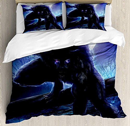 Fantasy World Quilt Bedding Sets, Surreal Werewolf with Electric Eyes in Full Moon Transformation Folkloric, 3 Piece Duvet Cover Set for Childrens/Kids/Teens/Adults, Purple Blue, TWIN / TWIN XL