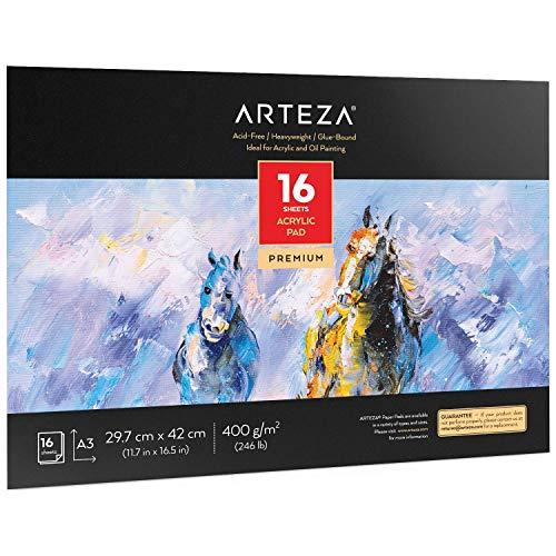 Arteza Zeichenblock für Acrylfarben   A3   16 Blatt   dickes Malpapier (400 g/m²)   Malbuch für Acryl- und Ölmalerei
