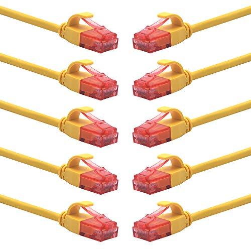 VCE 10 Pack Cat 6A Ultra Slim Ethernet Netwerk UTP Kabel 1.5m Compatibel met Cat6 Cat5e Cat5 voor Switch, Router, PC, PS4 en meer.