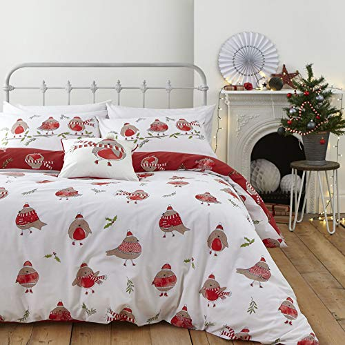 Catherine Lansfield Robins Easy Care Single Duvet Set Red