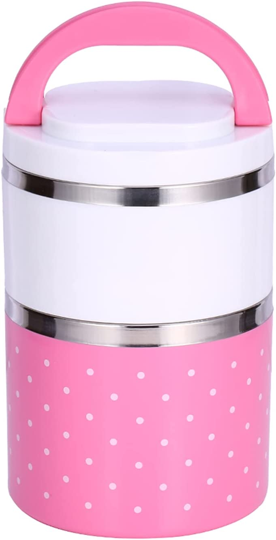 Bento/Recipiente para alimentos, Fiambrera térmica Frasco para alimentos con aislamiento rosa de 2 capas con anillo de silicona para niños Adultos para viajes de picnic al aire libre