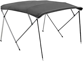 North East Harbor 4 Bow Boat Bimini Top Cover Gray with Rear Support Poles and Zippered Boot Fits 85