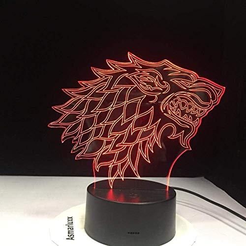 Luz De Ilusión 3D Luz De Noche Led House Of Thrones Stark Wolf Canción De Hielo Y Fuego Lámpara De Mesa De 7 Colores Que Cambia De Color Decoración Del Dormitorio Regalo Para Niños