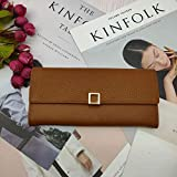 Portemonnaie Geldklammer Damen Long Wallet Top Layer Rindsleder Clutch Simple Casual Portable-Ocker