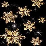 35 Piezas Adornos de Copos de Nieve de Cristal Acrílico Transparente Colgante de Árbol de Navidad DIY Decoración de Navidad (Transparente Color Champagne)